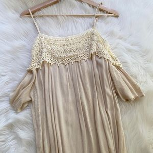{KORI America} Lace Trim Off Shoulder Dress